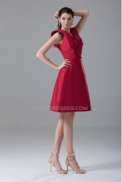 Buckle A-Line V-Neck Short Red Bridesmaid Dresses 02010467