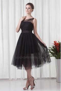 Charming Elastic Woven Satin Netting Sleeveless Short Black One-Shoulder Bridesmaid Dresses 02010468