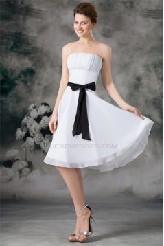 A-Line Sleeveless Chiffon Short White Bridesmaid Dresses 02010469