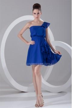 A-Line One-Shoulder Cascading Ruffles Short Blue Chiffon Bridesmaid Dresses 02010471
