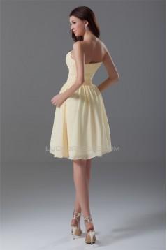 Chiffon Ruched Knee-Length Short Bridesmaid Dresses 02010473