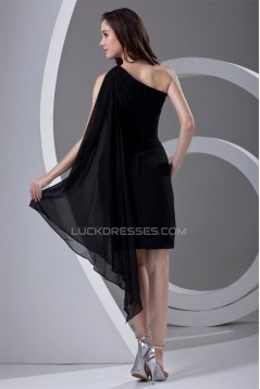 Chiffon Ruffles Sleeveless One-Shoulder Short Black Bridesmaid Dresses 02010474