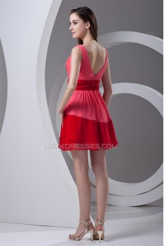 Affordable Sheath/Column V-Neck Short Chiffon Bridesmaid Dresses 02010475