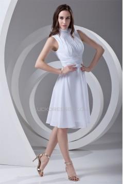A-Line Chiffon Sleeveless Handmade Flowers Short White Bridesmaid Dresses 02010476