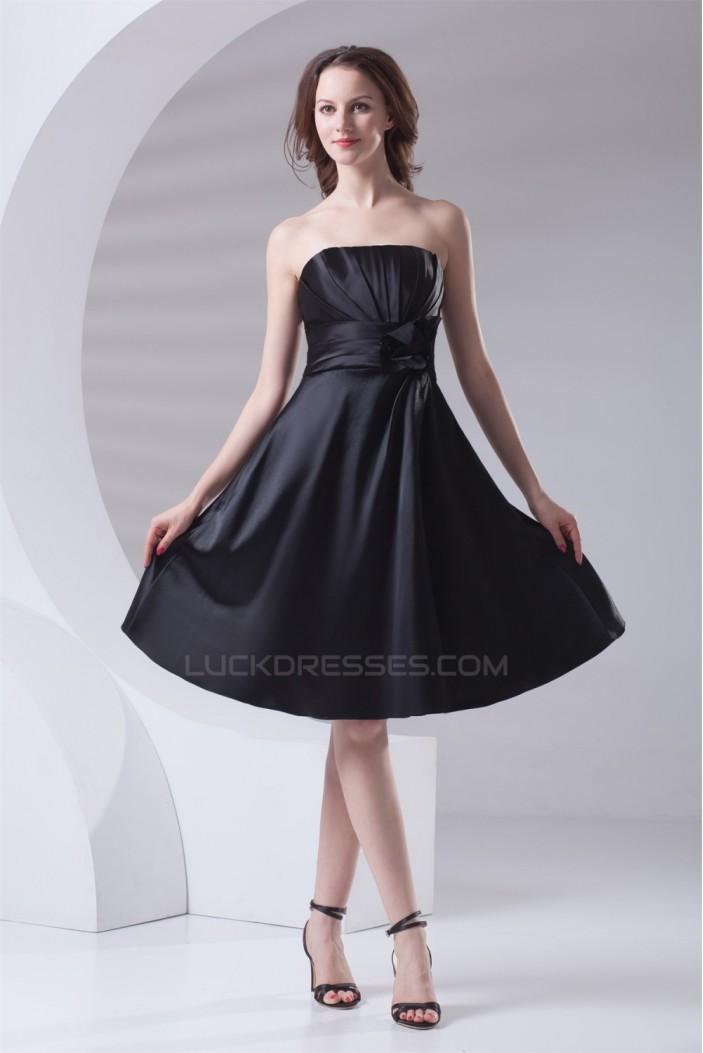 A-Line Most Popular Strapless Pleats Short Black Bridesmaid Dresses 02010480