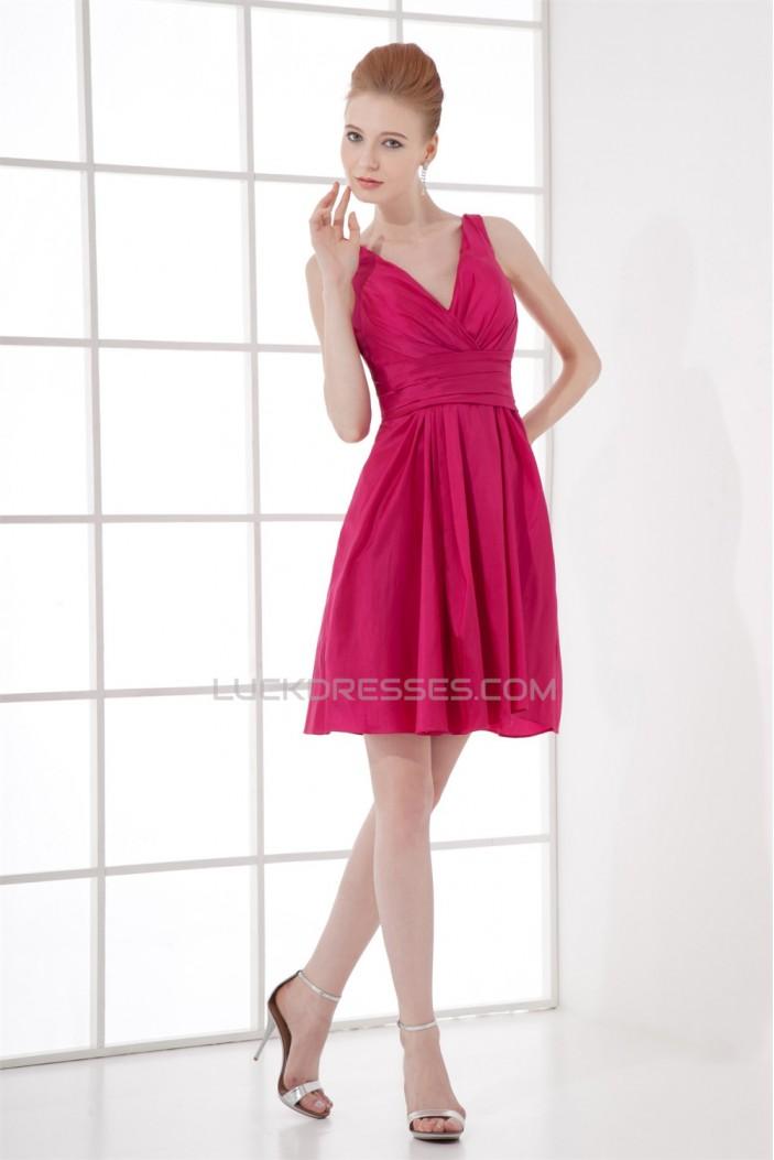 Great Taffeta Sheath/Column Pleats Sleeveless Short V-Neck Bridesmaid Dresses 02010482