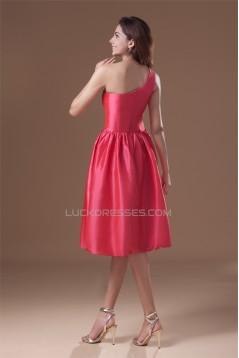 Handmade Flowers Knee-Length A-Line Taffeta Short Bridesmaid Dresses 02010484