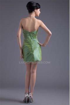 Handmade Flowers Short/Mini Taffeta Sheath/Column Short Bridesmaid Dresses 02010485