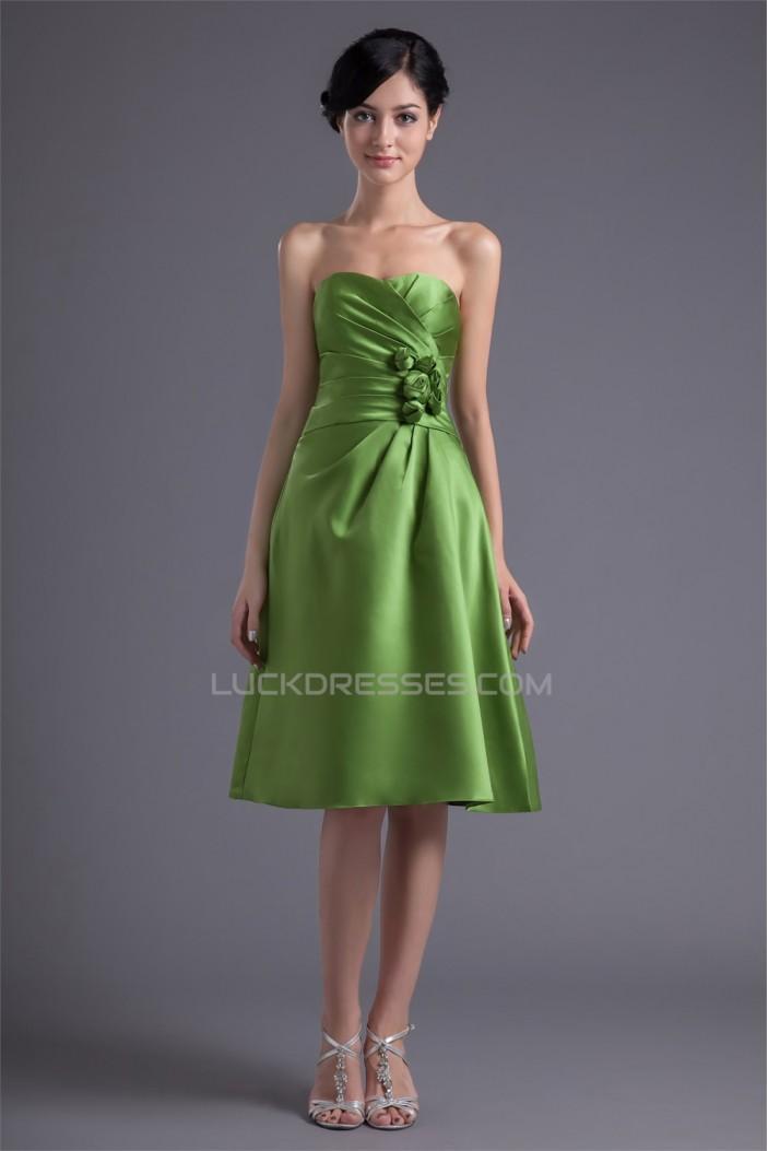 A-Line Handmade Flowers Sweetheart Knee-Length Short Bridesmaid Dresses 02010486