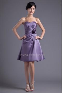 A-Line Knee-Length Sleeveless Satin Handmade Flowers Short Bridesmaid Dresses 02010489