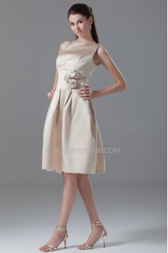 Knee-Length High-Neck A-Line Handmade Flowers Short Bridesmaid Dresses 02010491