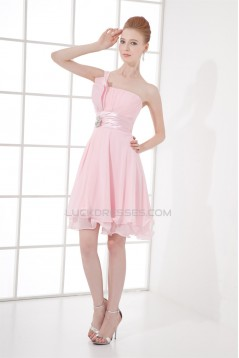 Knee-Length One-Shoulder Sleeveless Pleats Short Pink Bridesmaid Dresses 02010492