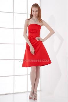 A-Line Knee-Length Pleats Sleeveless Elastic Woven Satin Short Red Bridesmaid Dresses 02010493
