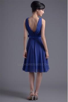 A-Line V-Neck Sleeveless Handmade Flowers Knee-Length Short Blue Bridesmaid Dresses 02010496