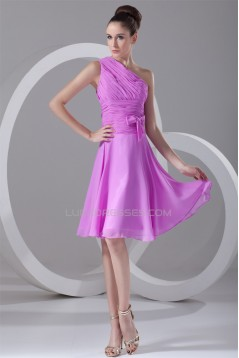 A-Line One-Shoulder Bows Knee-Length Short Bridesmaid Dresses 02010499