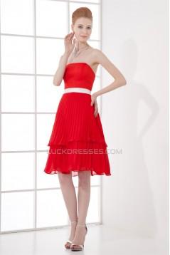 A-Line Pleats Chiffon Knee-Length Red Bridesmaid Dresses 02010501