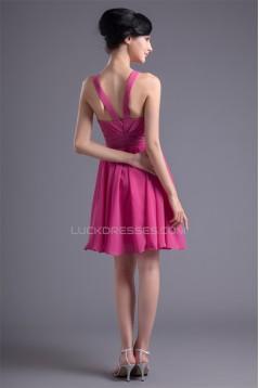 A-Line Square Short/Mini Pleats Chiffon Short Bridesmaid Dresses 02010502
