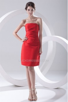 Pleats Knee-Length Satin Strapless Sleeveless Short Red Bridesmaid Dresses 02010503