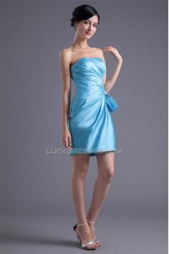 Pleats Strapless Satin Sleeveless Sheath/Column Bridesmaid Dresses 02010504