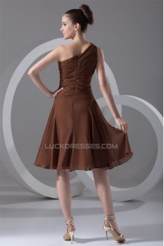 Pleats Tea Length Sheath/Column Chiffon One-Shoulder Short Bridesmaid Dresses 02010505