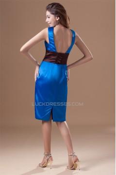 Pleats V-Neck Sheath/Column Knee-Length Short Blue Dresses 02010506