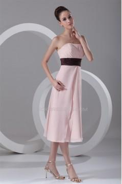 Ruffles Tea Length Strapless A-Line Chiffon Bridesmaid Dresses 02010509