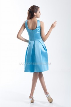 Satin Handmade Flowers Sleeveless Sheath/Column Short Blue Bridesmaid Dresses 02010511