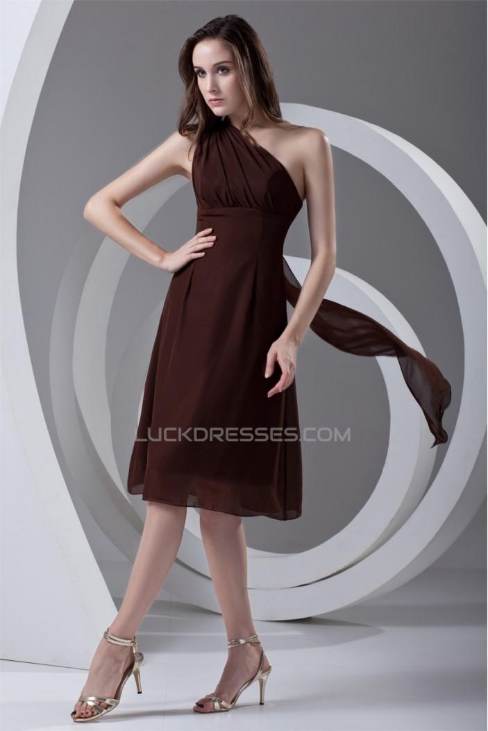 A-Line One-Shoulder Chiffon Short Bridesmaid Dresses 02010515