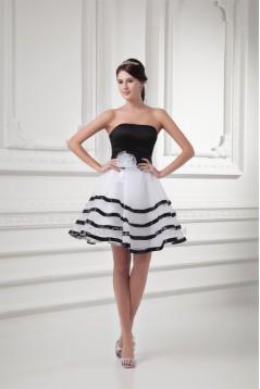 Short/Mini A-Line Satin Organza Handmade Flowers Black White Bridesmaid Dresses 02010517