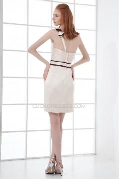 Short/Mini Satin Sleeveless Handmade Flowers One-Shoulder Short Bridesmaid Dresses 02010520