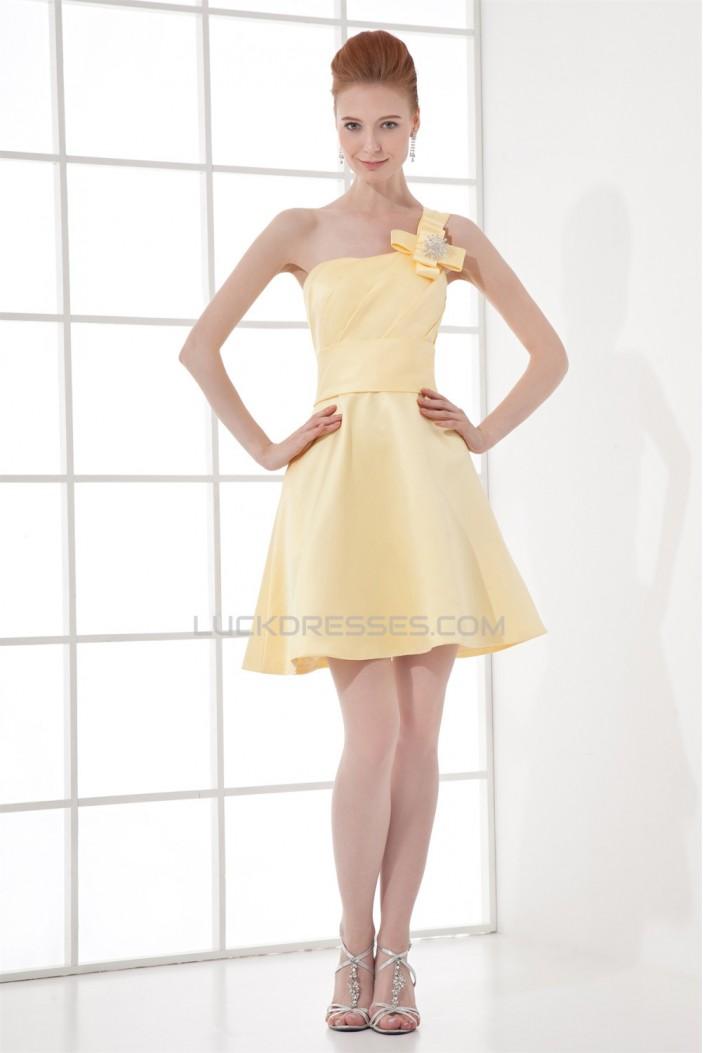 A-Line Short/Mini Sleeveless Bows Satin One-Shoulder Yellow Bridesmaid Dresses 02010521