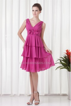 A-Line Knee-Length Sleeveless Chiffon Bridesmaid Dresses 02010523