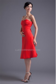 Sleeveless Knee-Length Satin A-Line Short Red Sweetheart Bridesmaid Dresses 02010527