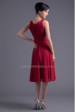 Sleeveless Knee-Length Scoop Chiffon Bridesmaid Dresses 02010528