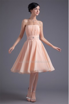 A-Line Strapless Knee-Length Beading Short Bridesmaid Dresses 02010529