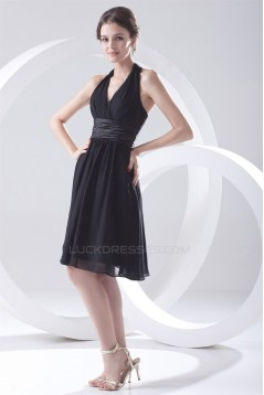 A-Line Knee-Length Halter Chiffon Short Black Bridesmaid Dresses 02010530