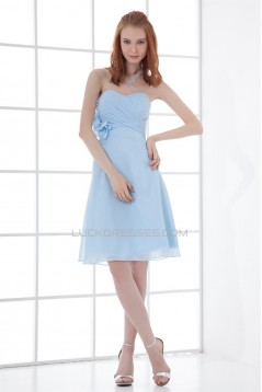 Soft Sweetheart Sleeveless Knee-Length A-Line Short Blue Bridesmaid Dresses 02010534