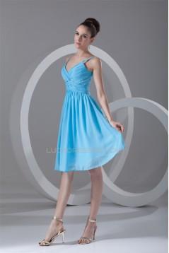 A-Line Spaghetti Straps Beaded Short Blue Chiffon Bridesmaid Dresses 02010535
