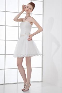 Strapless Beading A-Line Short White Bridesmaid Dresses 02010537