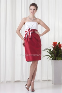 Strapless Sleeveless Bows Knee-Length Bridesmaid Dresses 02010539