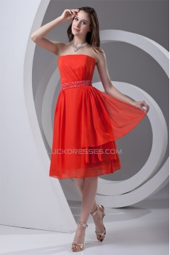 Affordable Strapless Sleeveless Chiffon Beaded Short Bridesmaid Dresses 02010540