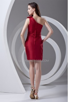 Taffeta Sleeveless Sheath/Column Short/Mini One-Shoulder Red Bridesmaid Dresses 02010542