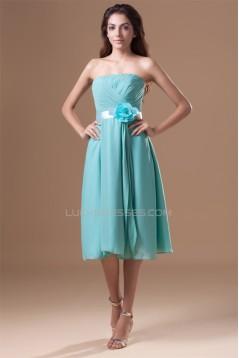 Sheath/Column Strapless Handmade Flowers Short Bridesmaid Dresses 02010543