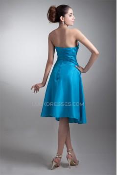 Tea Length Pleats Strapless Sleeveless A-Line Bridesmaid Dresses 02010545