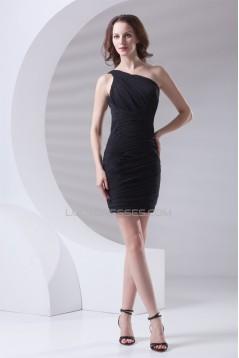 Sheath/Column Short/Mini One-Shoulder Black Bridesmaid Dresses 02010547