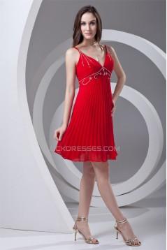 V-Neck Chiffon Sleeveless Short Red Beaded Bridesmaid Dresses 02010548