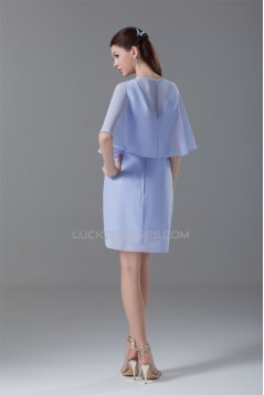 V-Neck Sheath/Column Sleeveless Knee-Length Short Bridesmaid Dresses 02010549