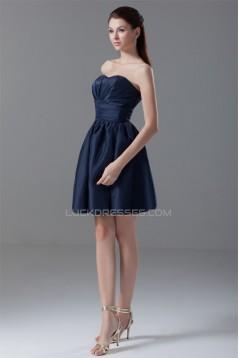 A-Line Satin Pleats Short/Mini Sleeveless Bridesmaid Dresses 02010552