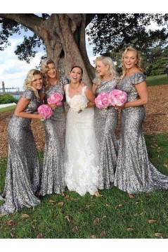 Latest Sequins Cap-Sleeves Silver Long Bridesmaid Dresses 3010001