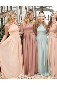 Halter Chiffon Floor-Length Long Bridesmaid Dresses 3010002